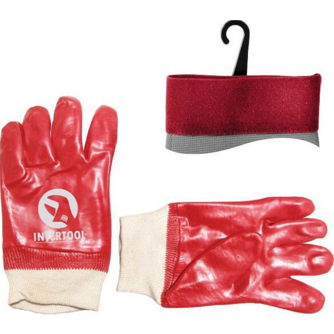 Перчатки рабочие Intertool синтетические с покрытием ПВХ красные