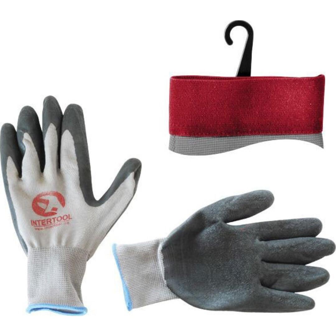 Перчатки рабочие Intertool трикотажные с латексным покрытием черные