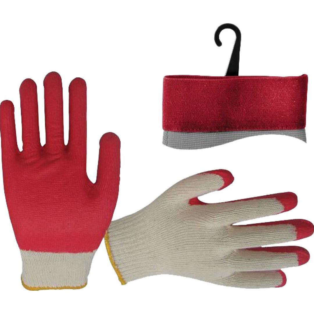 Перчатки рабочие Intertool хб с латексным покрытием красные