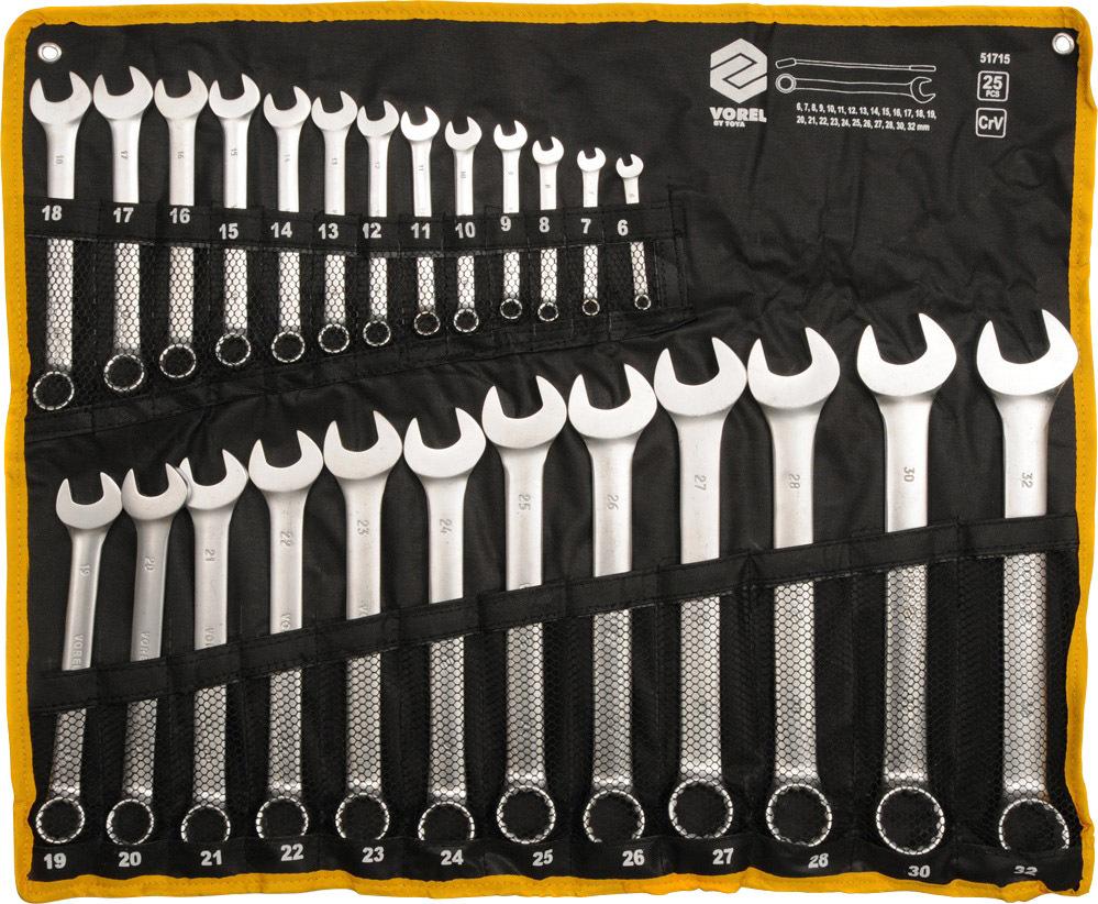 Купить Ключи автомобильные, Набор ключей рожково-накидных Vorel 51715 6-32 мм 25 шт
