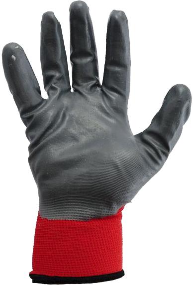 Перчатки рабочие MasterTool Black PU синтетические с нитриловым покрытием красные 830402
