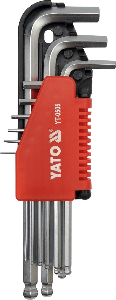 Купить Ключи автомобильные, Набор ключей шестигранных Yato YT0505 1, 5-10 мм с шарообразным наконечником 9 шт