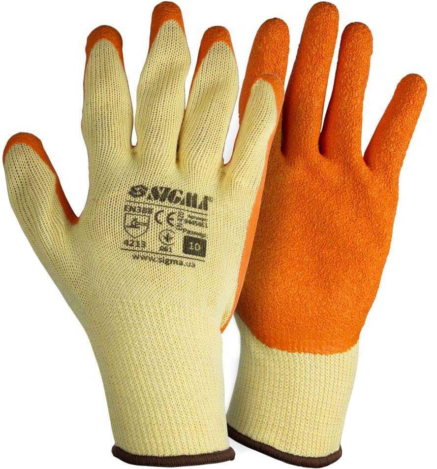 Перчатки рабочие Sigma трикотажные с латексным покрытием желтый