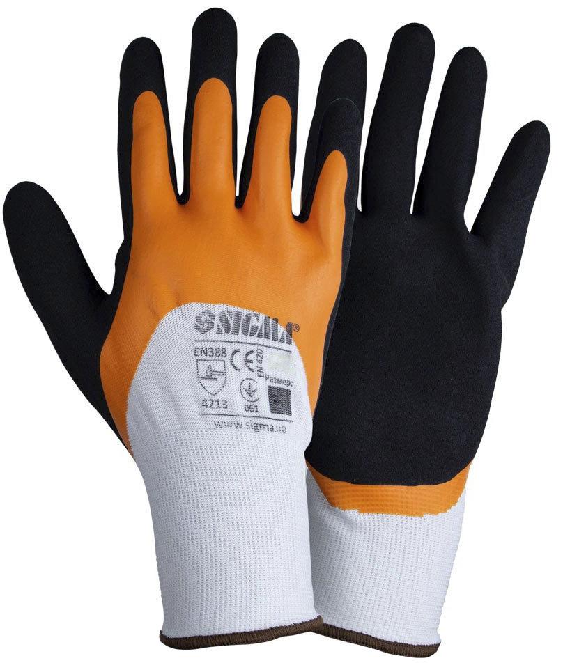 Перчатки рабочие Sigma трикотажные с двойным латексным покрытием белый 9445621