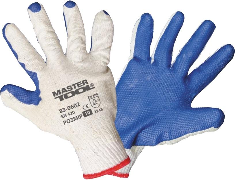 Перчатки рабочие MasterTool трикотажные с латексным покрытием белый 83-0602