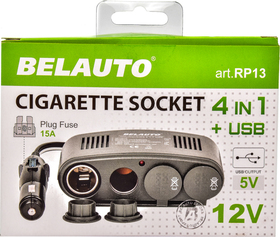 Разветвитель прикуривателя с USB BELAUTO 4 в 1 + USB RP13