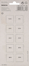 Набор предохранителей Bosch 1987529037 FT8 midi (normal) 5A  7,5A  10A  15A  20A  25A  30A  10 шт.