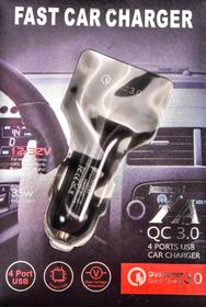 USB переходник на прикуриватель XoKo 4 USB CQC-400-BK