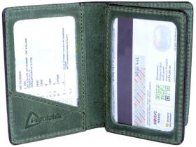 Обложка для прав и техпаспорта Poputchik 5164-1-054P без логотипа зеленый