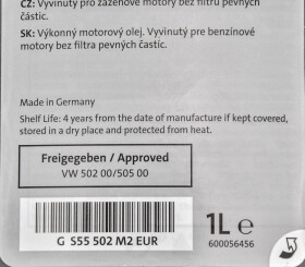 Моторное масло VAG Special G 5W-40 синтетическое