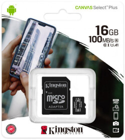 Карта памяти Kingston Canvas Select Plus (с SD-адаптером) microSDHC  16 ГБ