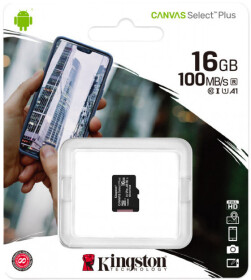 Карта памяти Kingston Canvas Select Plus microSDHC  16 ГБ